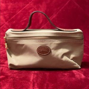 Longchamp Beige Makeup/ Cosmetic Bag